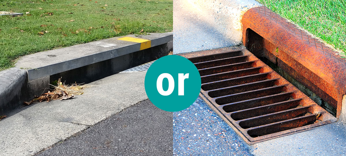 Image of two different types of storm drain inlets.